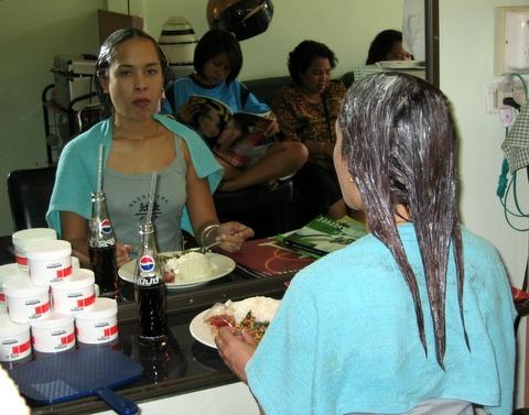 natalie at hairdresser