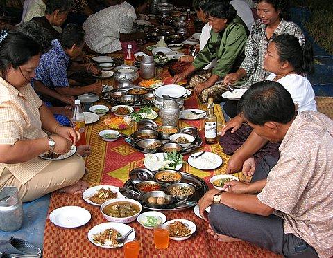 enjoying a meal