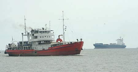 Ships on their way to Bangkok