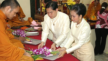 Presenting monks with flowers